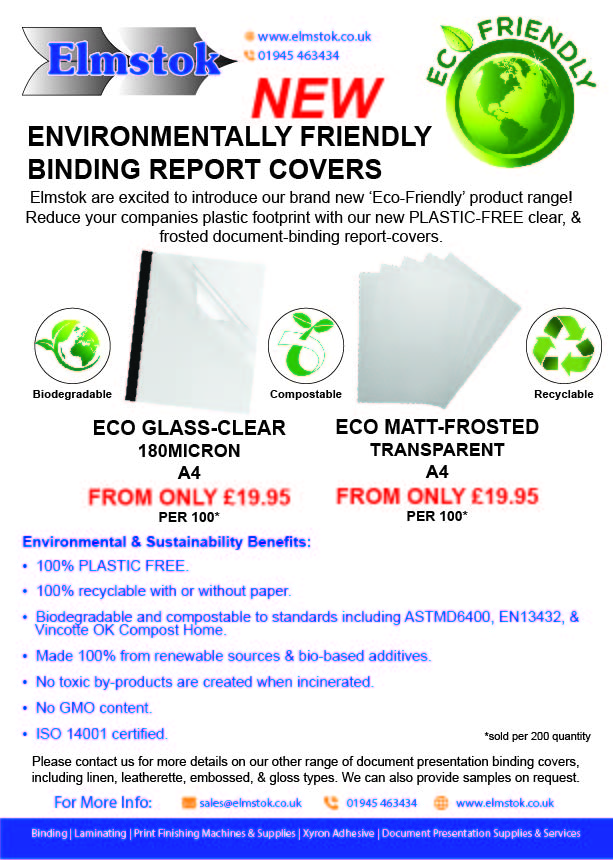 NEW Eco-Friendly (Plastic-Free) Document Binding Report Covers