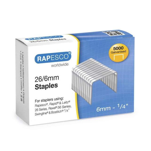 Rapesco 26/6mm Galvanised Staples
