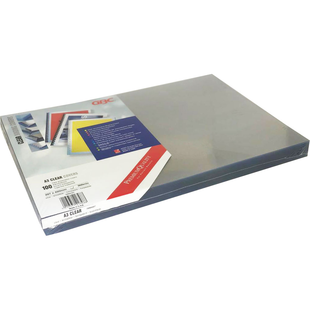 Branded Premium Quality PVC 300Micron A3 Clear Covers (100)