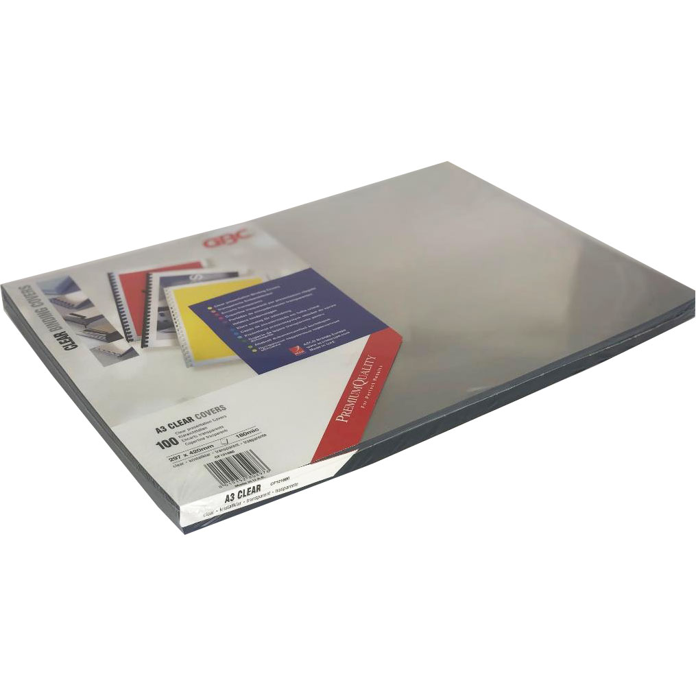 Branded Premium Quality PVC 180Micron A3 Clear Sheets (100)