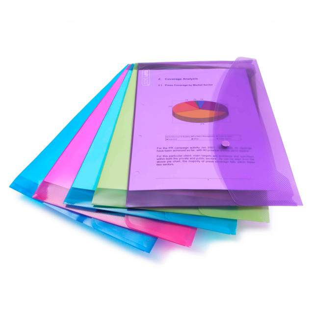 Rapesco Bright Transparent Popper Wallets Foolscap