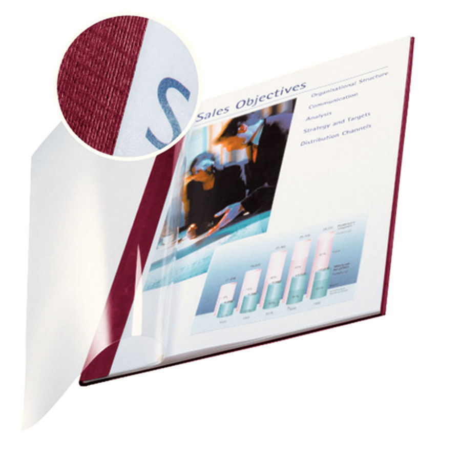 Impressbind A4 Clear-Front Binding Covers - Burgundy (10)