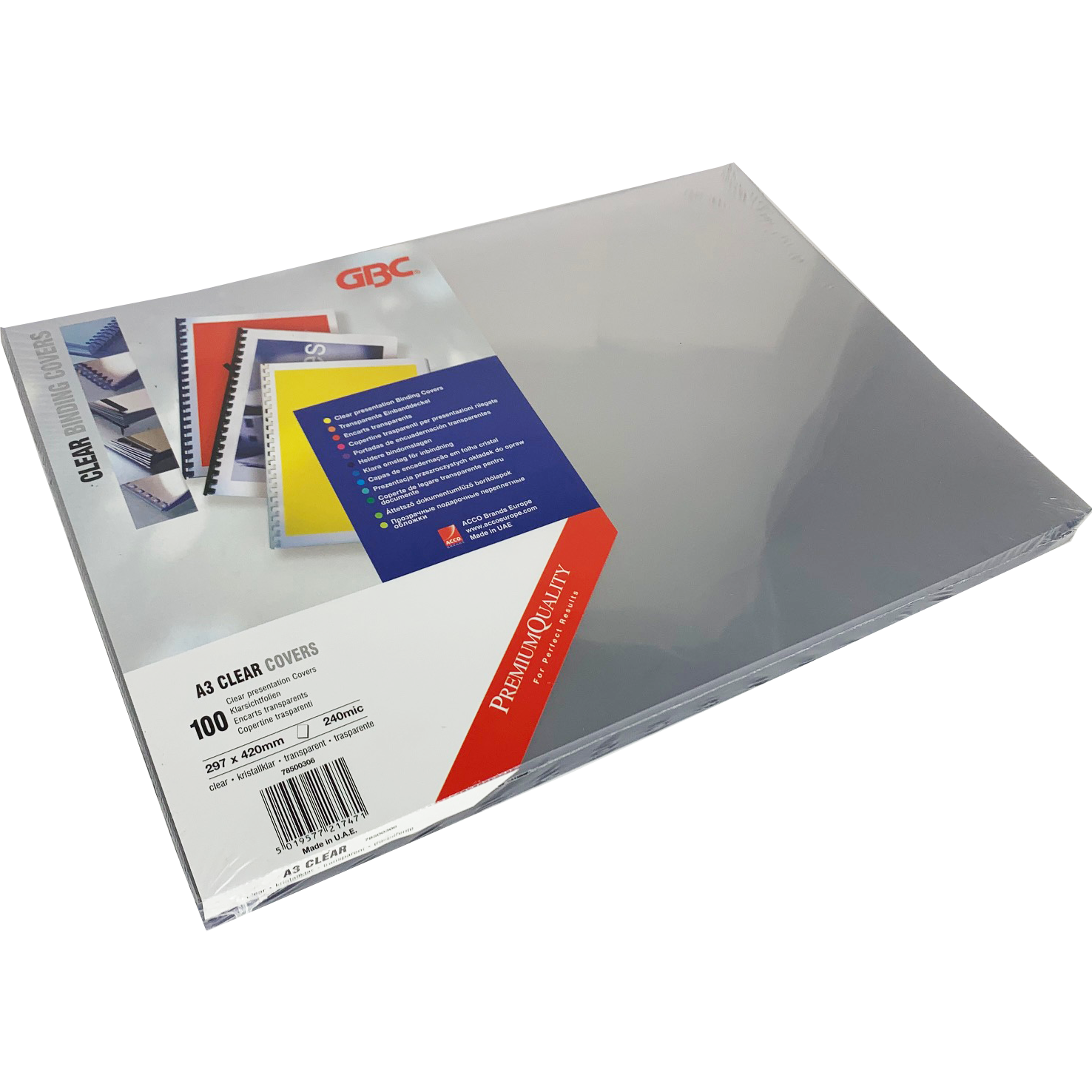 Branded Premium Quality PVC 240Micron A3 Clear Sheets (100)