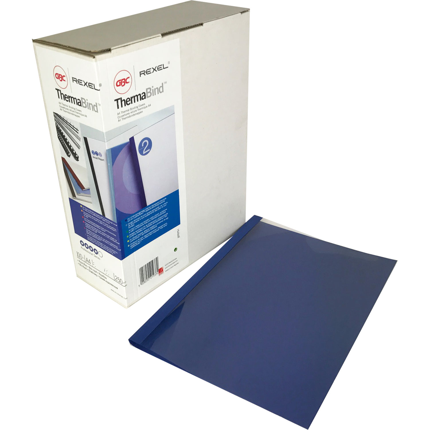 GBC 6mm Blue Leathergrain Thermal Binding Covers 451034U (100)