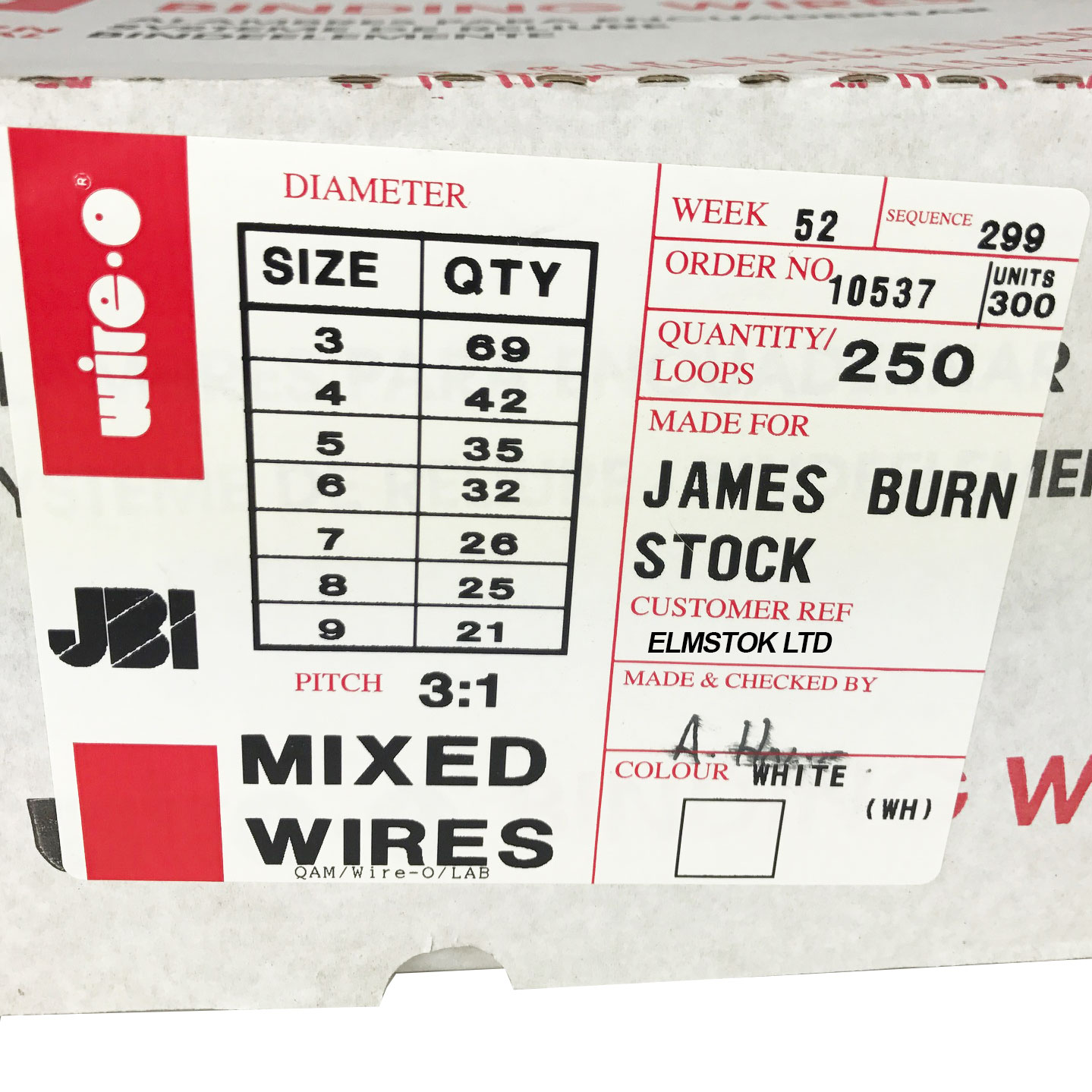 James Burn Mixed 3:1 White Binding Wire Diameter Sizes 3, 4, 5, 6, 7 ...