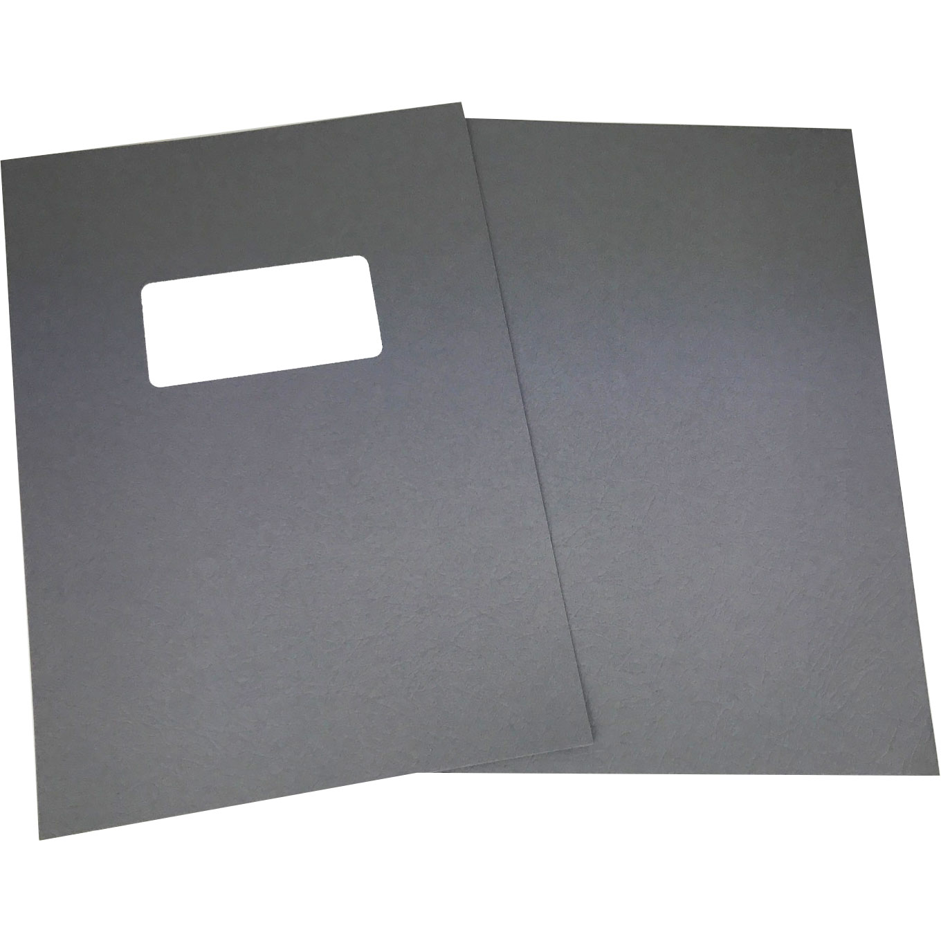 Grey Leathergrain A4 Binding Covers - Window Cut-Out