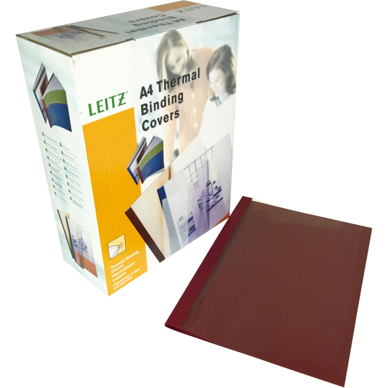 Leitz A4 Burgundy Leathergrain Thermal Binding Covers (100)