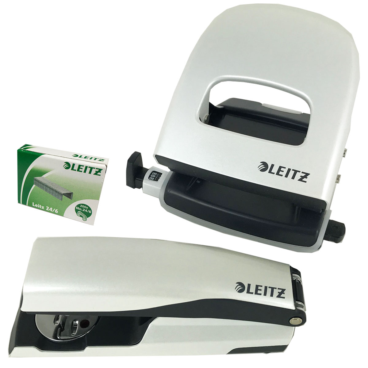 White-Pearl Punch & Stapler Set With Black Trim