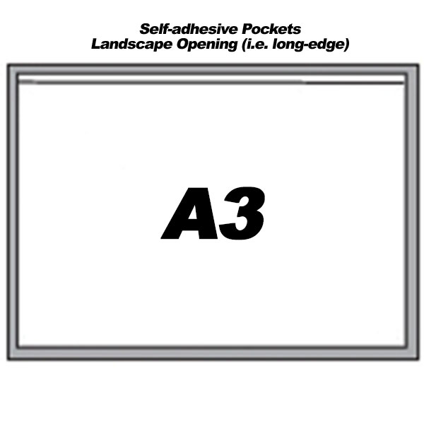 Self-Adhesive Landscape Pockets For A3 Sheets (300)