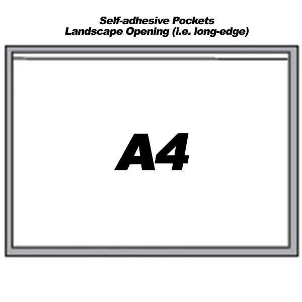Self-Adhesive Landscape Pockets For A4 Sheets (100)