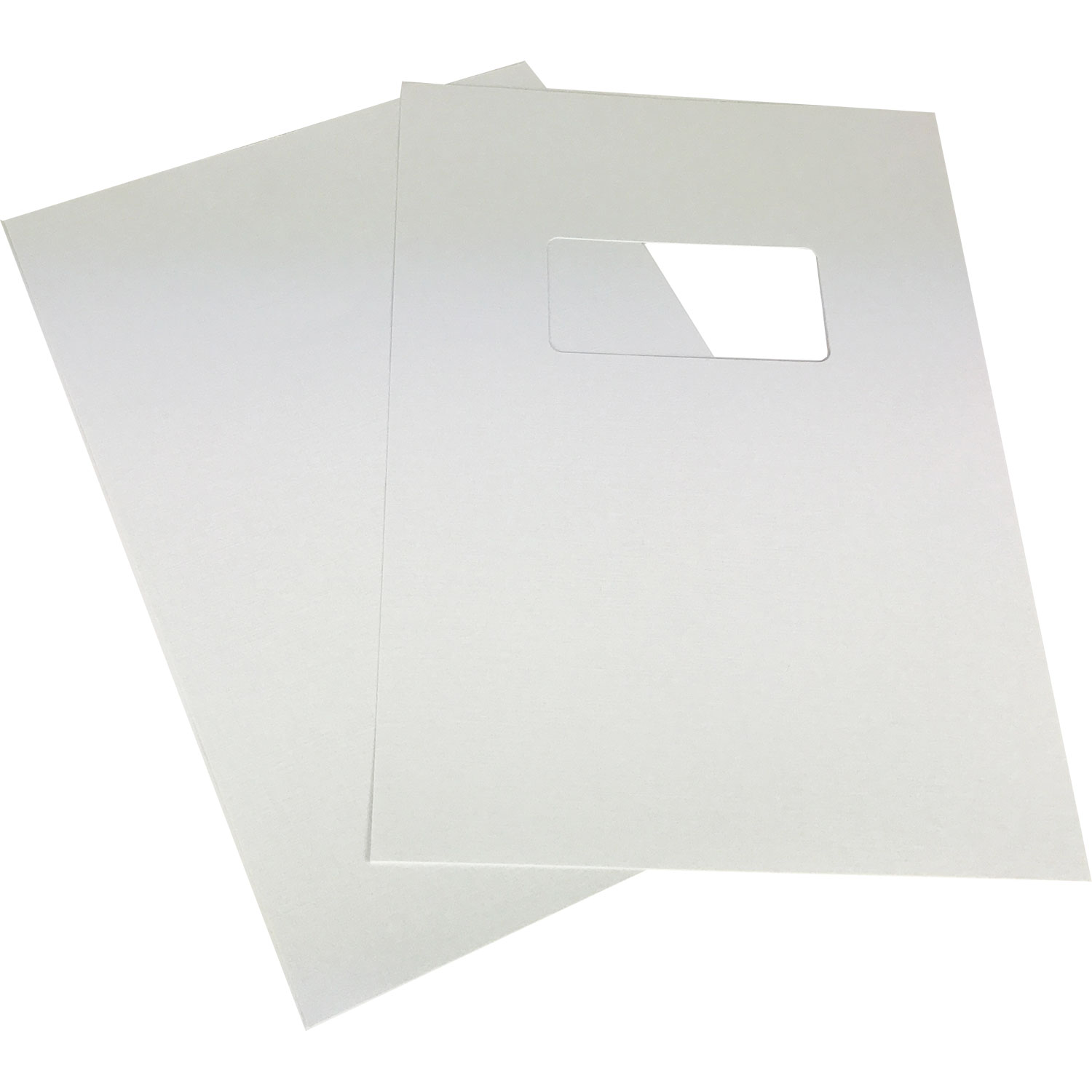 White Linen A4 Binding Covers - Window Cut-Out